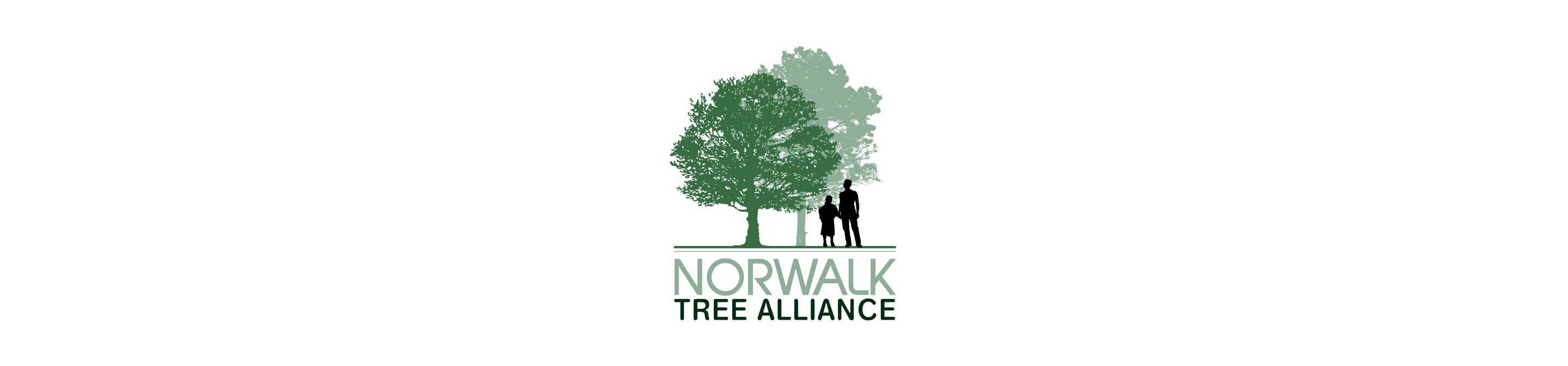 """Two people stand underneath two trees. Beneath the image are the words """"Norwalk Tree Alliance."""""""